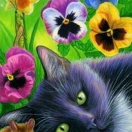 Leveranstid 1,5-2v - Katt i blommor, fyrkant 50x60cm