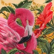 Flamingo, fyrkant, 80x80cm