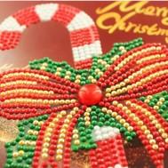 Julkort polkagriskäpp 15x15cm