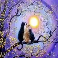 Leveranstid 1,5-2v - Katter i solnedgång, fyrkant, 50x40cm