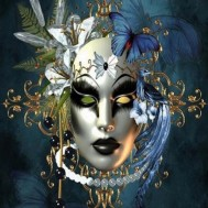 Mask blå, fyrkant, 50x60cm