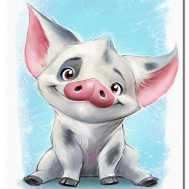 Glada grisen, rund 30x40cm