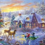 Vinter landskap snögubbe, fyrkant 80x6cm