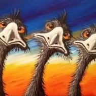 Galna fåglar, rund 60x50cm
