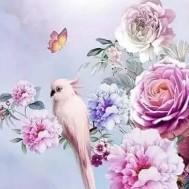 Fågel rosa, fyrkant 40x60cm