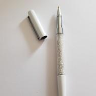 Duttpenna glitter med tyngd, vit