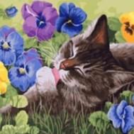 Katt i gräs, rund, 50x40cm
