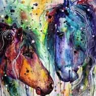 Leveranstid 1,5v -  Färgglada hästar, fyrkant, 30x40cm