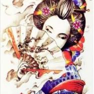 Geisha, fyrkant 40x50cm