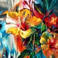 Leveranstid 1,5v - Blommor färgglad, fyrkant, 70x50cm