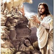Leveranstid 1,5v - Jesus fårherde, fyrkant 50x65cm