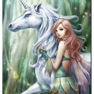 Leveranstid 1,5v - Unicorn girl, fyrkant 40x55cm