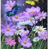 Leveranstid 1,5v - Blomma fjäril, fyrkant 40x50cm