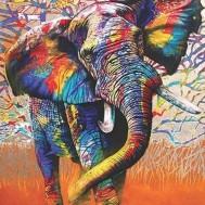 Leveranstid 1,5v - Elefant färgglad, fyrkant, 60x80cm