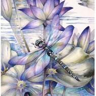 Leveranstid 1,5v - Trollsländan lila, fyrkant, 50x70cm