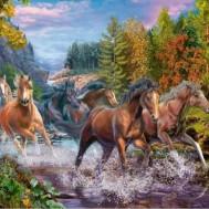 Hästar i bäcken, fyrkantig 50x40cm