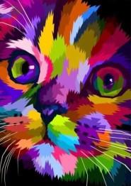 Färgglad katt, fyrkant 50x60cm - Färgglad katt