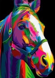 Färgglad häst, fyrkant 50x60cm - Färgglad häst