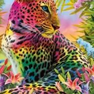 Färgglad Leopard, fyrkant 60x80cm