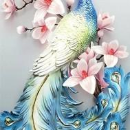 Påfågel, fyrkant 50x100cm