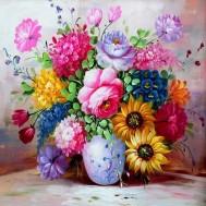 Blomster i vas, fyrkant 50x50cm
