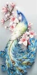 Påfågel, fyrkant 40x80cm -