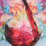 Rosé glas konst, fyrkantig 50x70cm