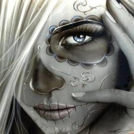 Ghost girl, fyrkant 40x40cm -