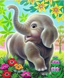 Leveranstid 1,5-2v, Elefant unge 40x50cm - 1,5-2v-leveranstid -Elefant unge fyrkant 40x50cm