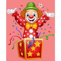 Clown överraskning, fyrkant 30x40cm -