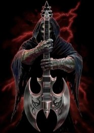 Death by guitarr, fyrkant  50x70cm -