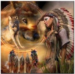 1,5-2v leveranstid - Drömfångare indian vargar - 50x50cm