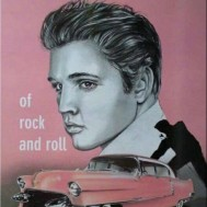 Leveranstid 1,5-2v - Elvis in pink, fyrkant, 50x60cm
