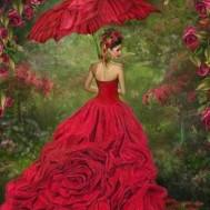 Leveranstid 1,5-2v, Diamondpainting, diamant tavla Kvinna i rött, fyrkant 50x70cm