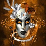 Leveranstid 1,5-2v, Diamondpainting, diamant tavla Mask orange, rund, 50x60cm