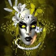 Leveranstid 1,5-2v, Diamondpainting, diamant tavla Mask gul, rund 50x60cm