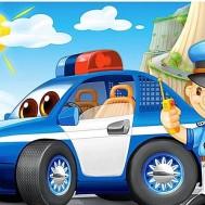 Polisbil barn, fyrkant 50x40cm
