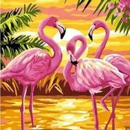 Flamingo solnedgång, fyrkant 40x50cm