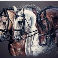 Hästar, fyrkant 60x50cm