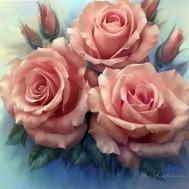 Leveranstid 1,5-2v - Rosor rosa, fyrkant 40x40cm