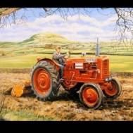 Traktor röd, rund 50x40cm