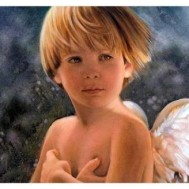 Ängel pojke, fyrkant eller rund 50x40cm
