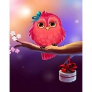Fågel rosa, fyrkant 40x50cm