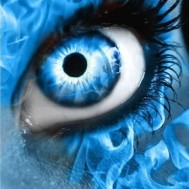 Öga blå, rund 50x60cm