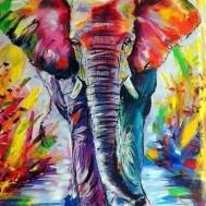 Färgglad elefant, rund 40x50cm
