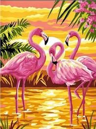 1,5-2v leveranstid - Flamingo solnedgång, fyrkant 40x50cm -