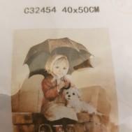 Flickan med hunden, fyrkant 40x50cm