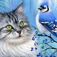 Katt med fågel, fyrkant 50x40cm