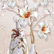 Blommor vita vad, fyrkant 40x80cm
