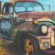 Bil vintage, fyrkant 50x40cm